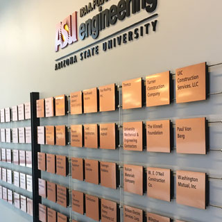 ASU-Del E. Webb School of Construction Donor Recognition Wall